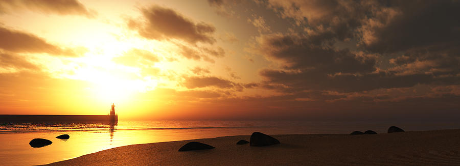 Sunset Digital Art - Ocean Side Sunset by Jean Paul Thierevere