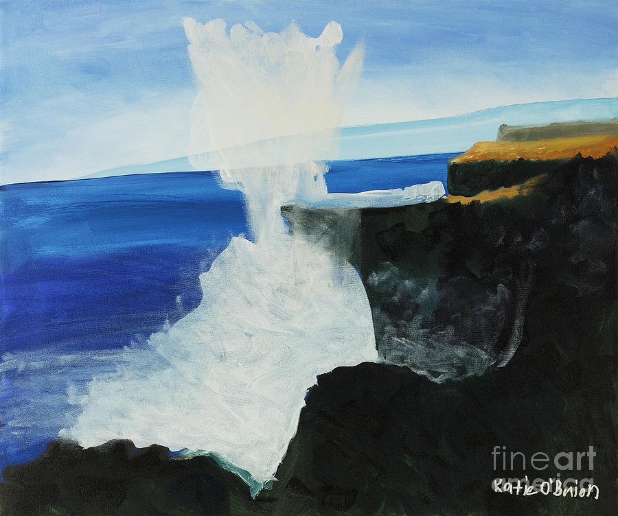 Black Painting - Ocean Spray At Blowhole by Katie OBrien - Printscapes