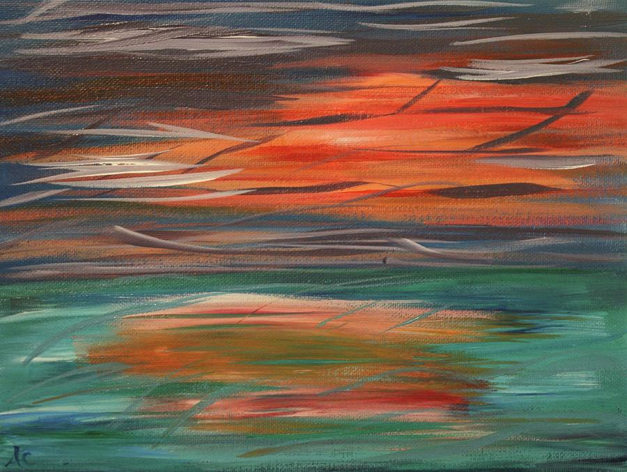 Landscape Painting - Ocean Sun by Amy Craft