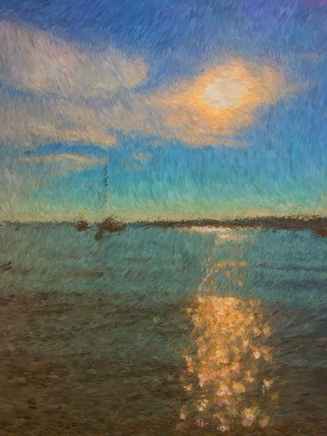Boothbay Harbor Painting - Ocean Sun Path At Boothbay Harbor by Viktor Arsenov