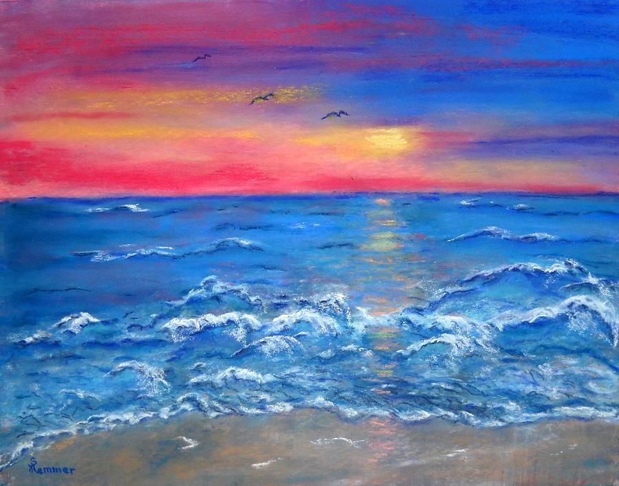Seascape Painting - Ocean Sunrise by Sandy Hemmer