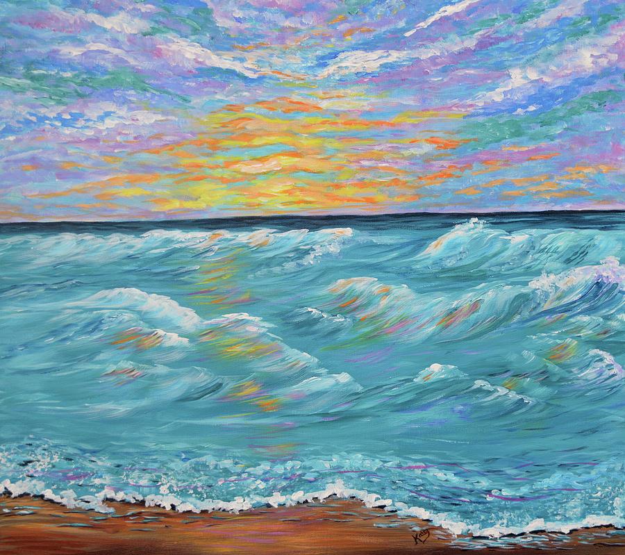 ocean sunrise seascape painting ocean waves painting by kathy symonds