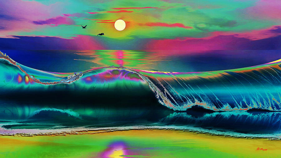 Water Digital Art - Ocean Sunset Abstract by Gregory Murray