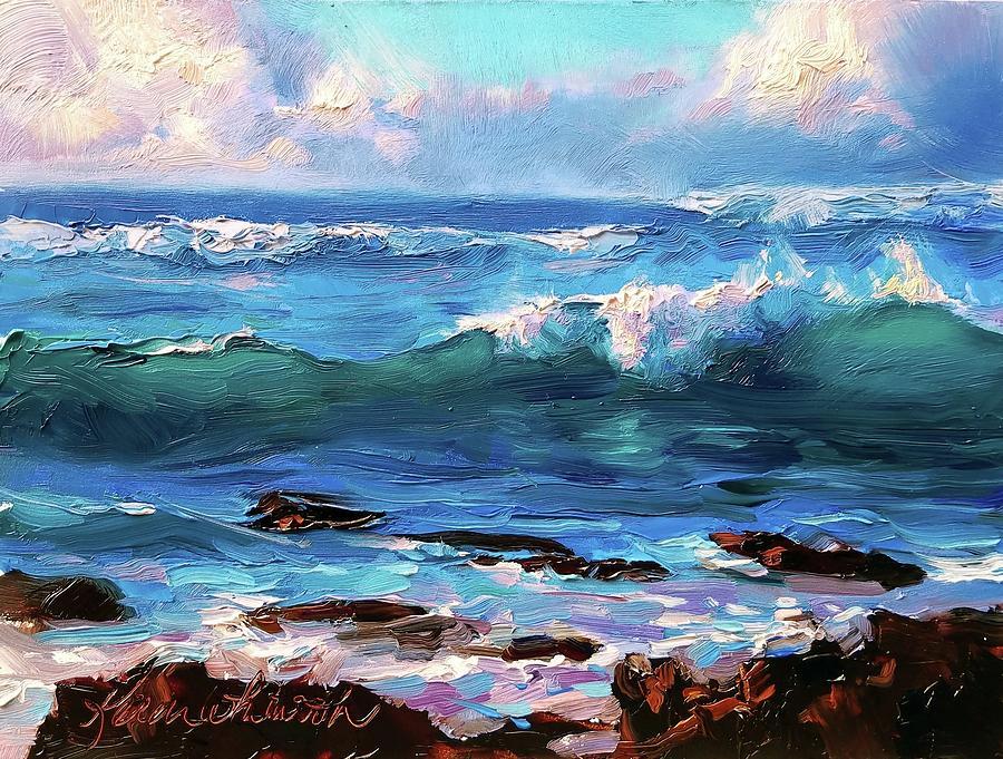 Coastal Ocean Sunset at Turtle Bay, Oahu Hawaii Beach seascape by Karen Whitworth