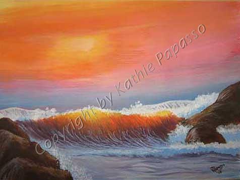 Ocean Painting - Ocean Sunset by Kathie Papasso