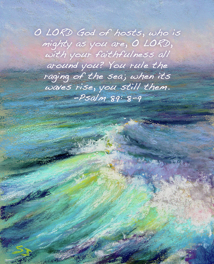 Ocean Waves Painting - Ocean Symphony With Bible Verse by Susan Jenkins