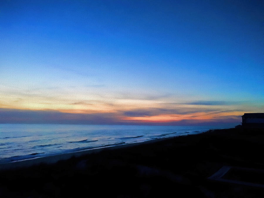 Sunset Photograph - Ocean view of sunset on the beach at Cape San Blas, Florida by WildBird Photographs