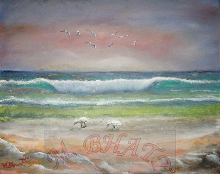 Ocean Painting - Ocean Wave by M Bhatt