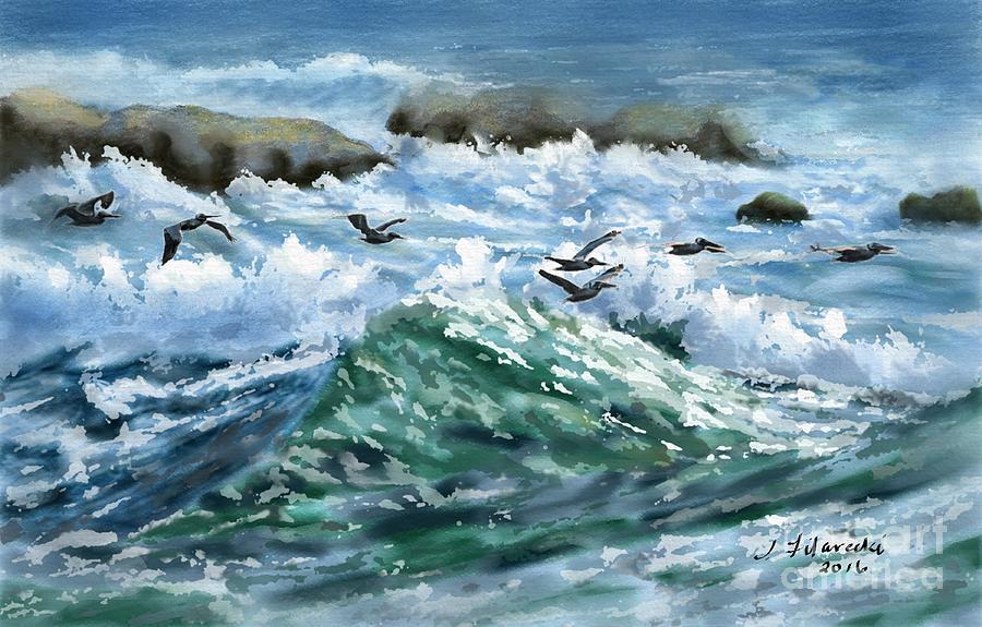 Ocean Painting - Ocean Waves And Pelicans by Judy Filarecki