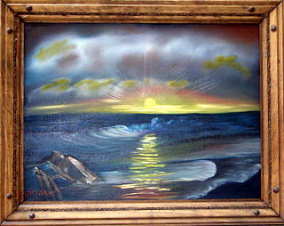 Seascape Painting - Ocean Waves At Sunset by Sheldon Morgan