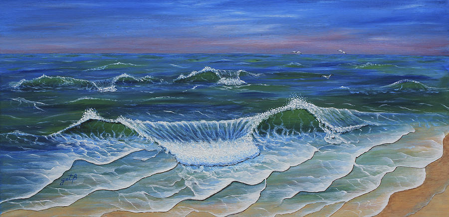 Ocean Waves Dance At Dawn Original Acrylic Painting Painting By