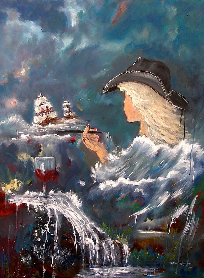 Ocean Wine Painting by Miroslaw  Chelchowski
