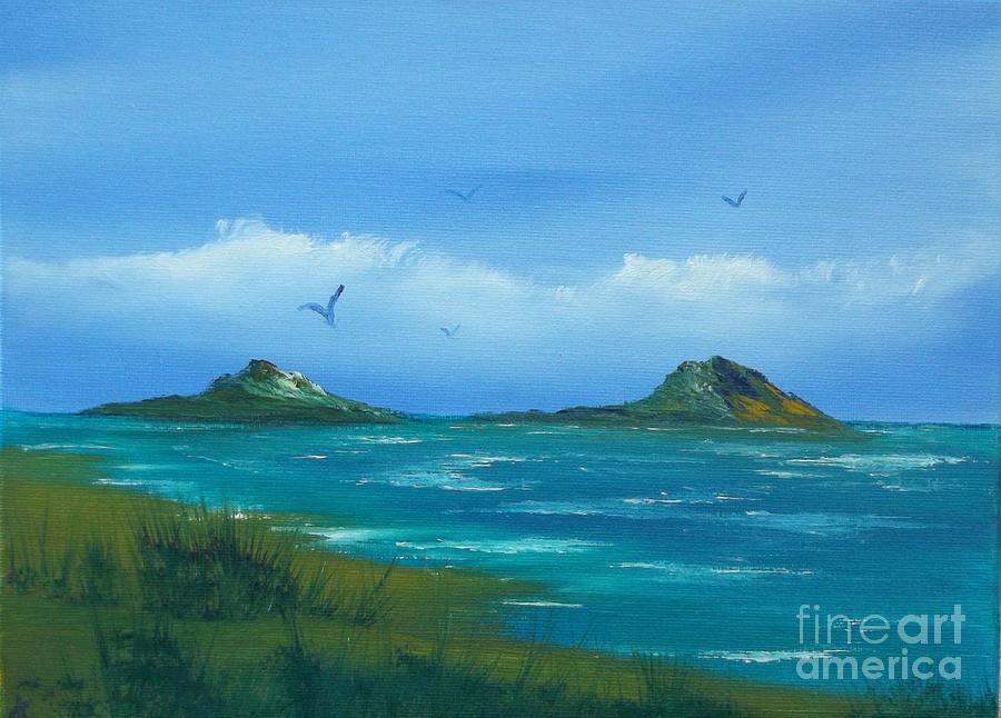 Seascape Painting - Oceans Islands by Cynthia Adams