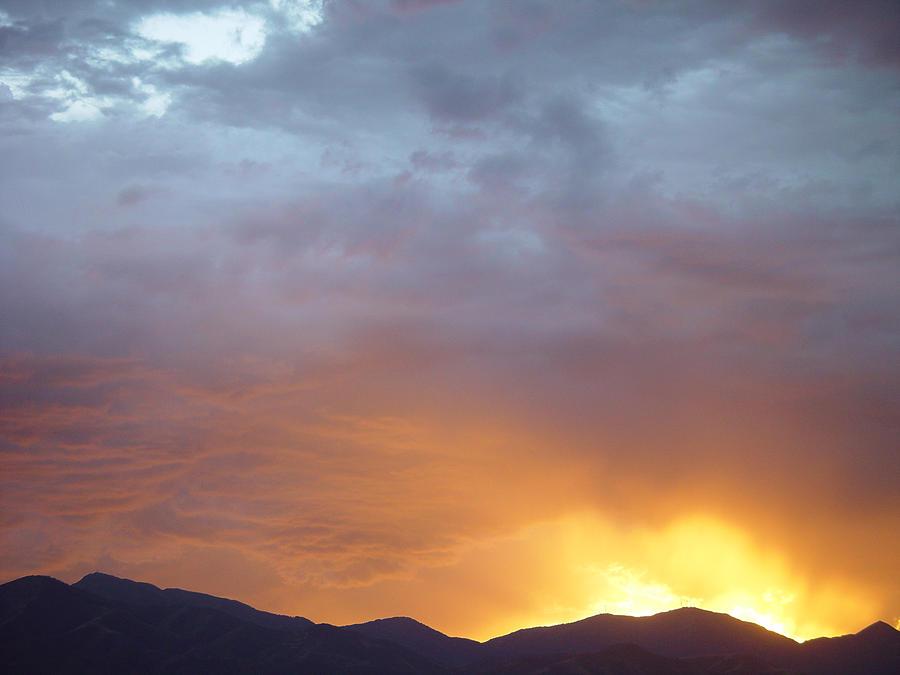 Sunset Painting - Ochre Mountains Stormy Sunset  by Derek Nielsen