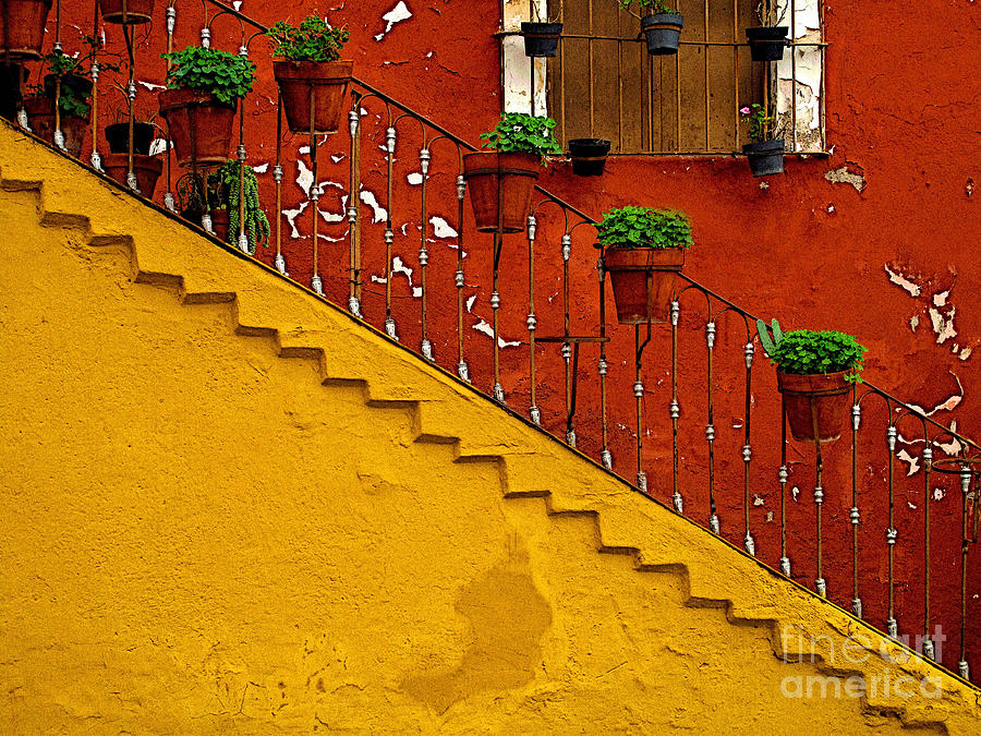 Darian Day Photograph - Ochre Staircase With Red Wall 2 by Mexicolors Art Photography