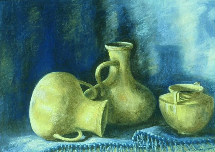Still Life Pottery Painting - Ochre Vessels by Ruth Stromswold