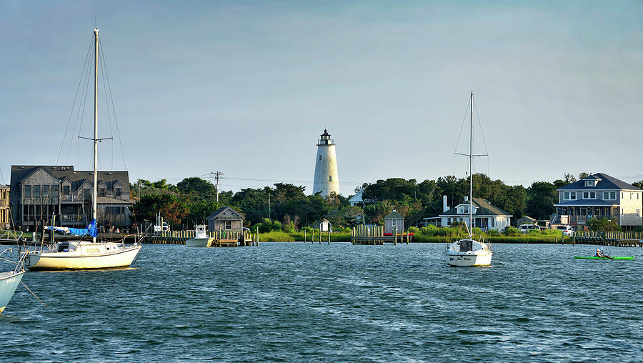 Ocracoke Photograph - Ocracoke Island Lighthouse From Silver Lake by Brendan Reals