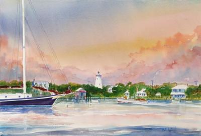 Ocracoke Lighthouse At Sunset Painting by Bob Pittman
