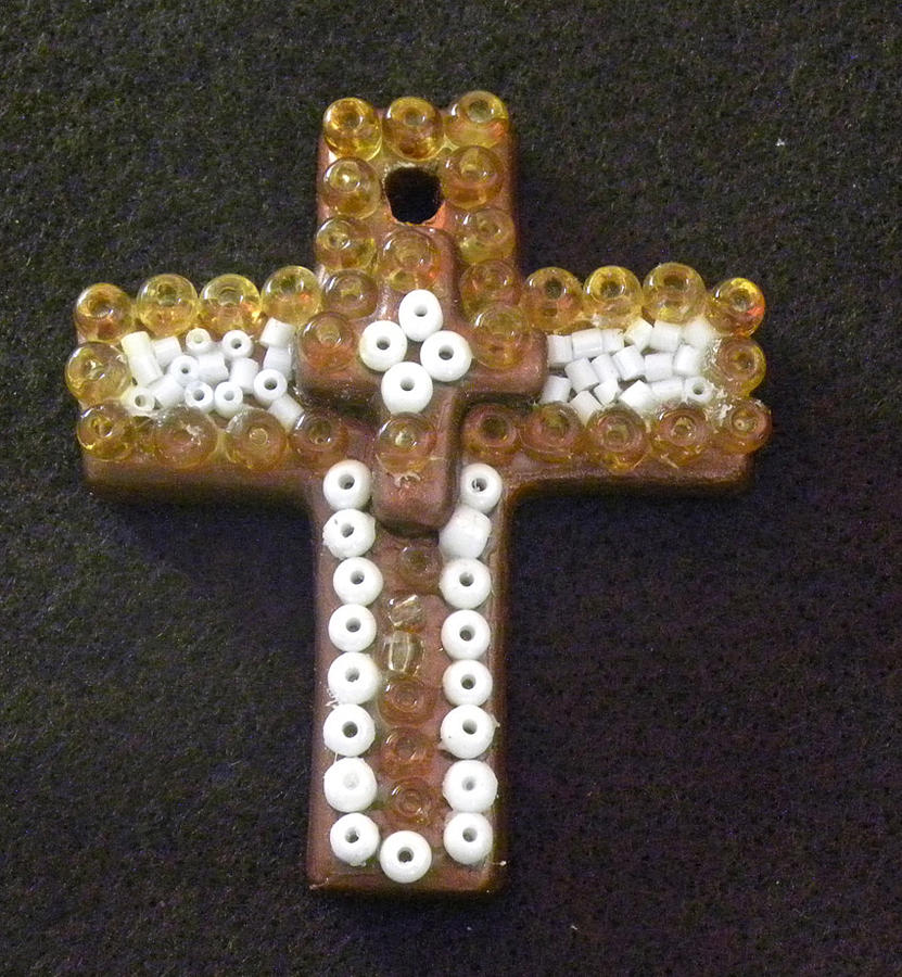 Cross Mixed Media - Ocre Cross by Arlene Barrios