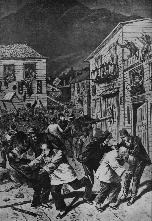 History Photograph - October 31, 1880 Anti-chinese Riot by Everett