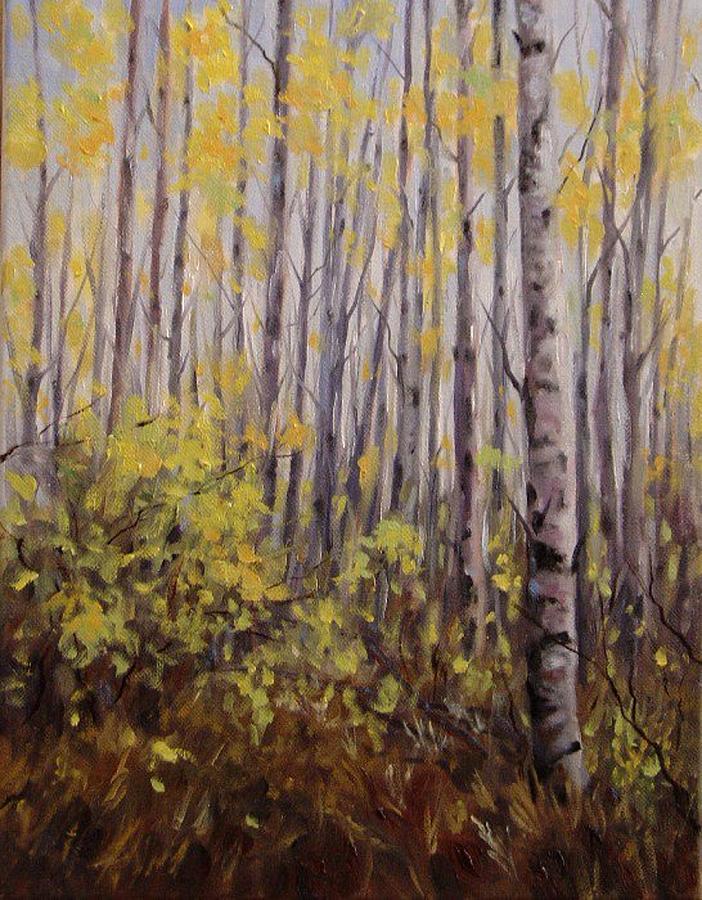 Aspen Painting - October Aspen by Debra Mickelson
