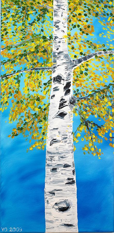 Birch Painting - October Birch by Valerie Ornstein