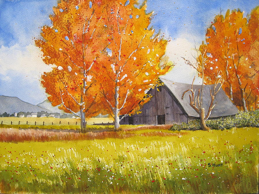 Landscape Painting - October Flame by Shirley Braithwaite Hunt