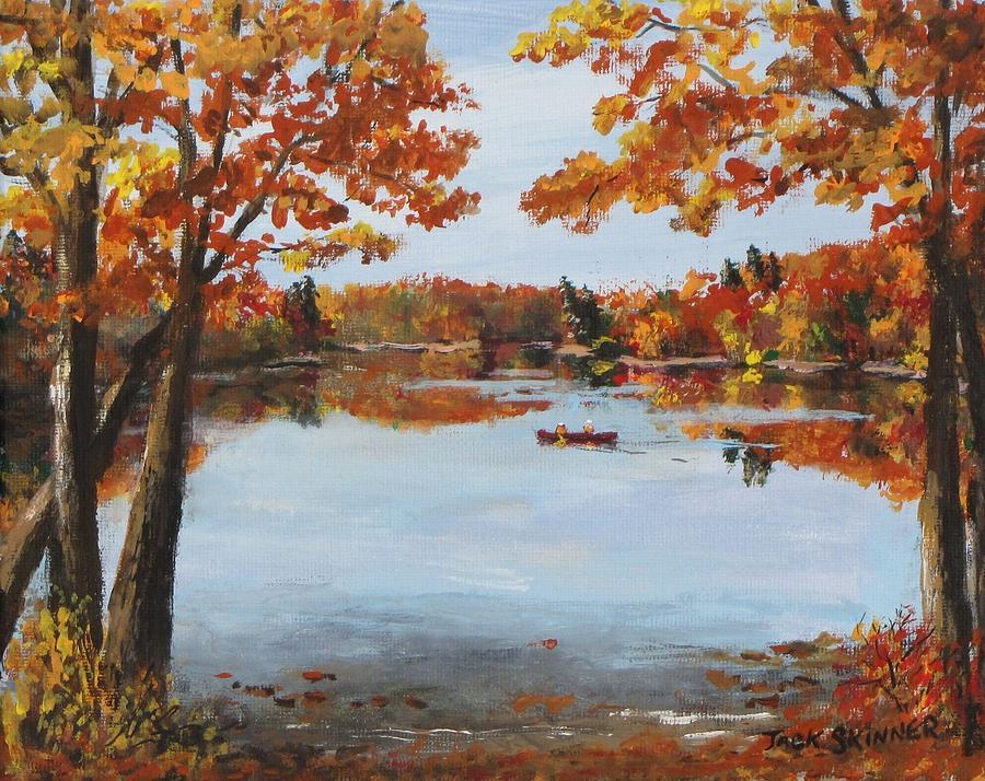 Walden Pond Painting - October Morn At Walden Pond by Jack Skinner