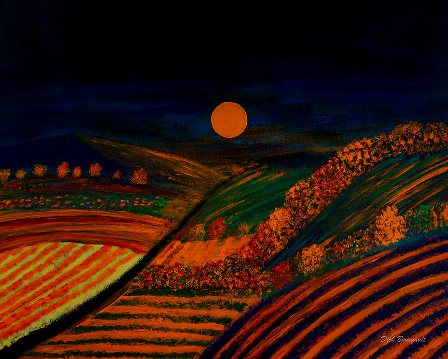 Fall Painting - October Night by Dick Bourgault
