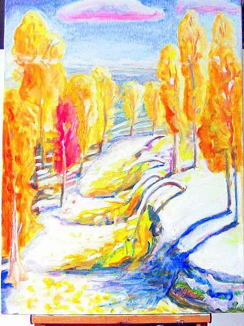 Landscape Painting - October Trees by Gregory Albright