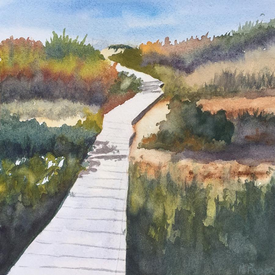 October Walk To Beach Painting by Peggy Poppe