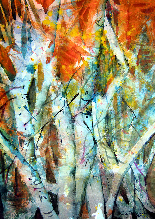 Waterfall Painting - October Woods by Mindy Newman