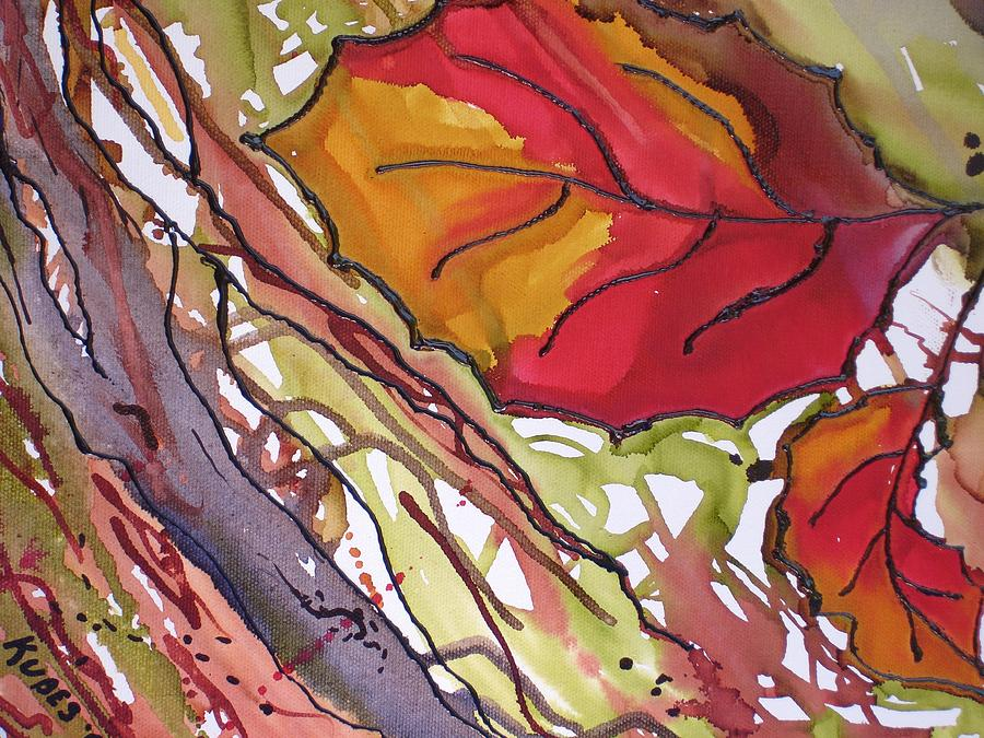 Leaf Mixed Media - Octobersecond by Susan Kubes