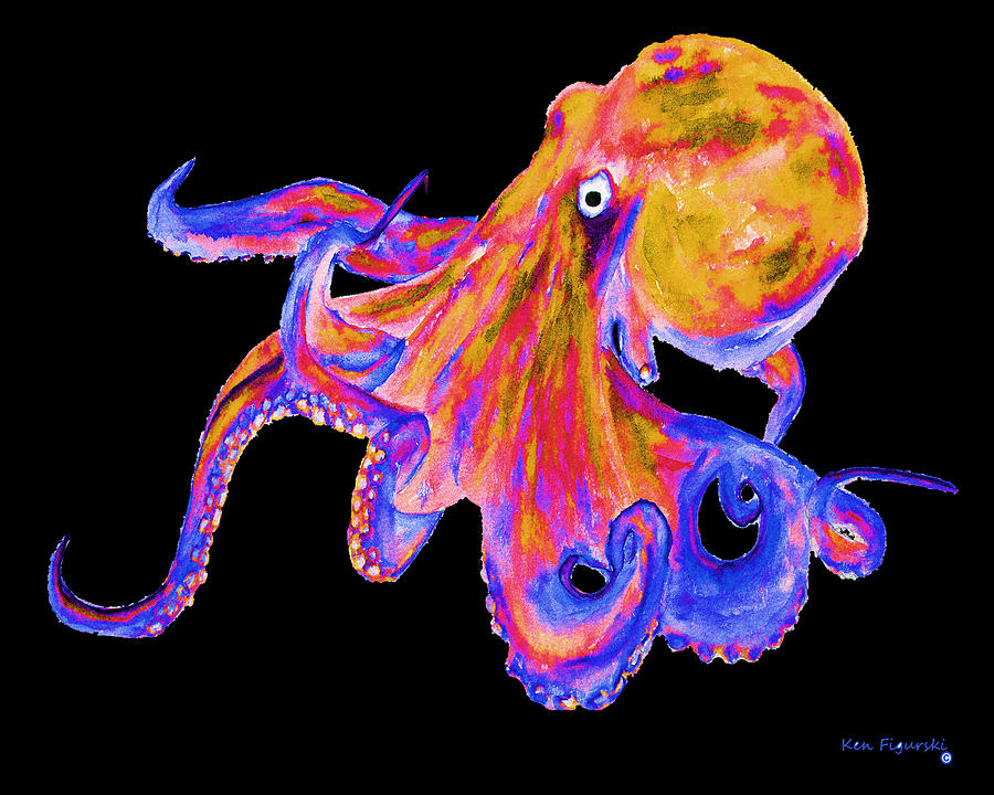 Octopus color pop painting by ken figurski for Colorful octopus painting
