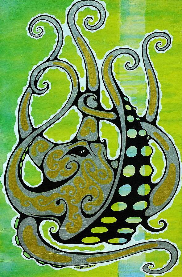 Octopus Painting - Octopus by John Benko