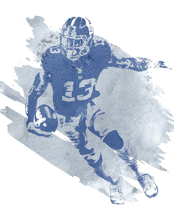 Odell Beckham Jr Mixed Media - Odell Beckham Jr New York Giants Water Color Art 4 by Joe Hamilton