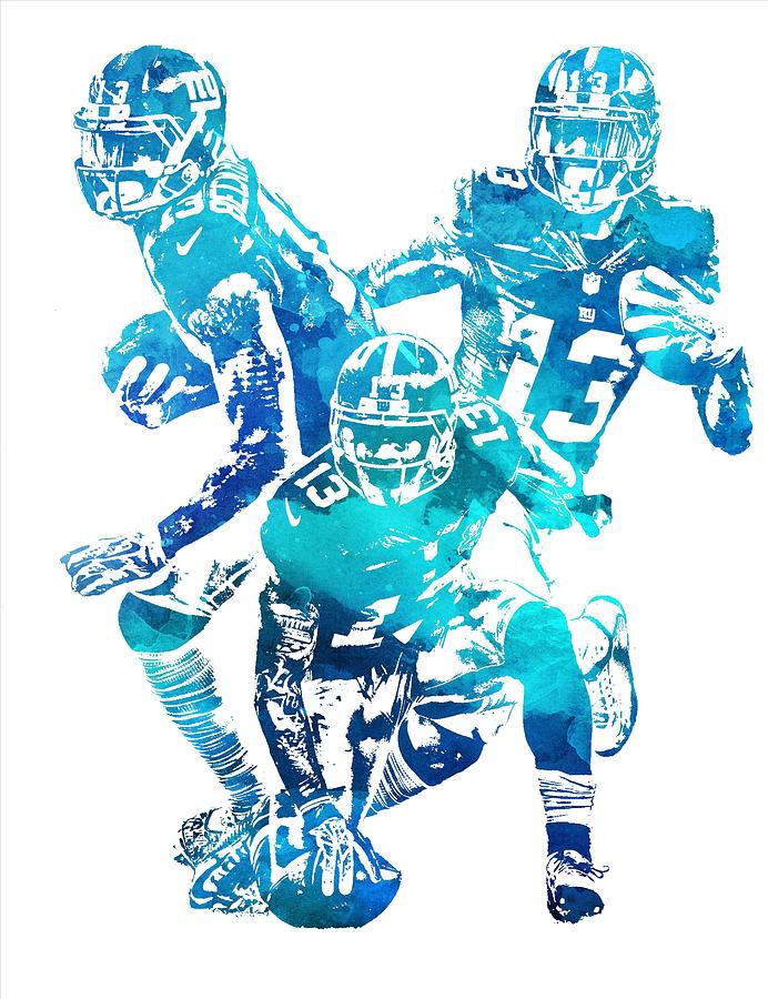 Odell Beckham Jr Mixed Media - Odell Beckham Jr New York Giants Water Color Pixel Art 1 by Joe Hamilton