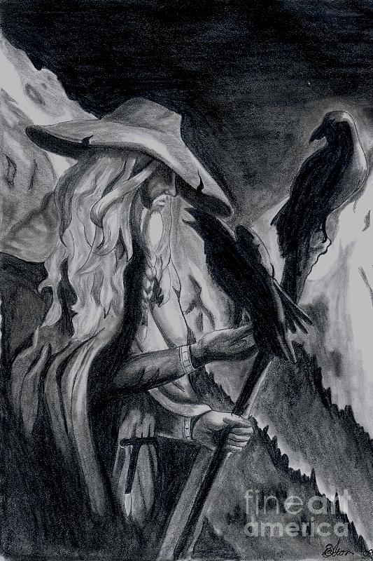 Odin Drawing - Odin by Beate Dalton