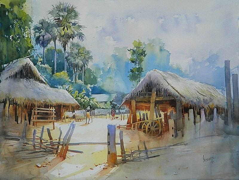 Odisha Village,15 Painting by Bijay Biswaal