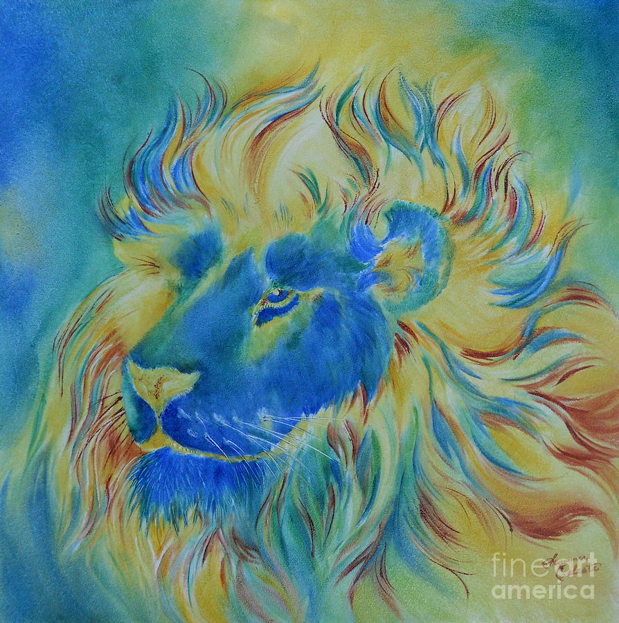of another color blue lion painting by summer celeste