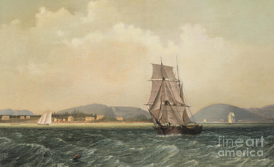 Maine Painting - Off Mount Desert Island, Maine by Fitz Henry Lane