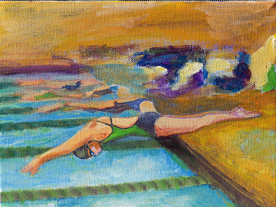 Swimming Painting - Off The Blocks by Julie Opell