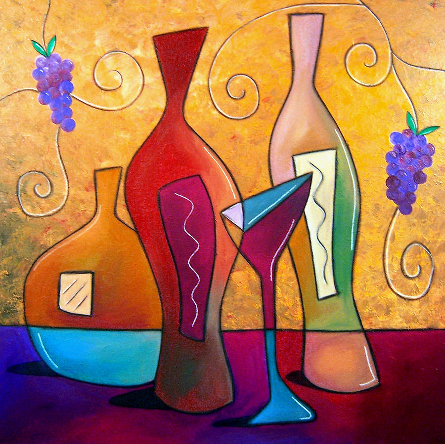 Abstract Art Paintings Painting - Off The Vine by Tom Fedro - Fidostudio
