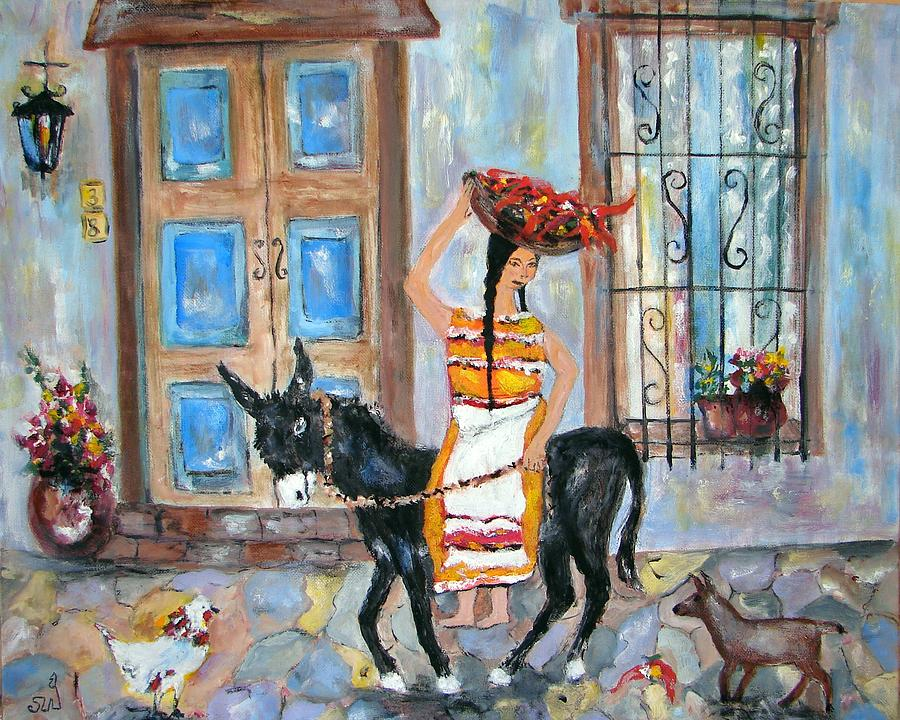 Off To The Chile Market Painting by Sarah Wharton White