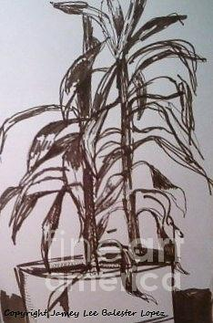 Plants Drawing - Office Plant by Jamey Balester