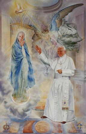 Official Portrait Of Pope John Paul II  Painting by Oscar Casares