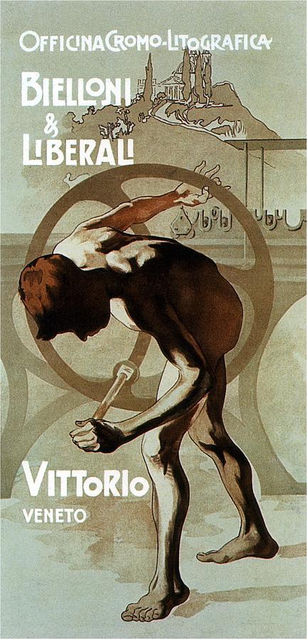 Officina Cromo-litografica - Bielloni And Liberali - Vittorio Veneto - Print Advertisement Mixed Media