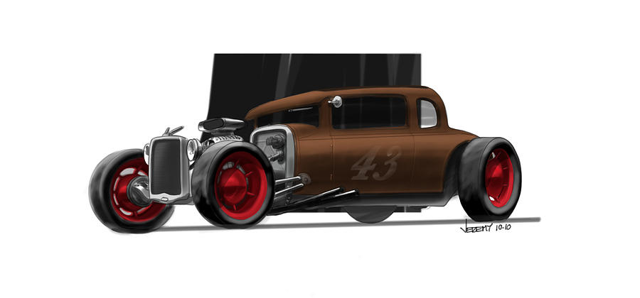 Hot Rod Drawing - Og Hot Rod by Jeremy Lacy