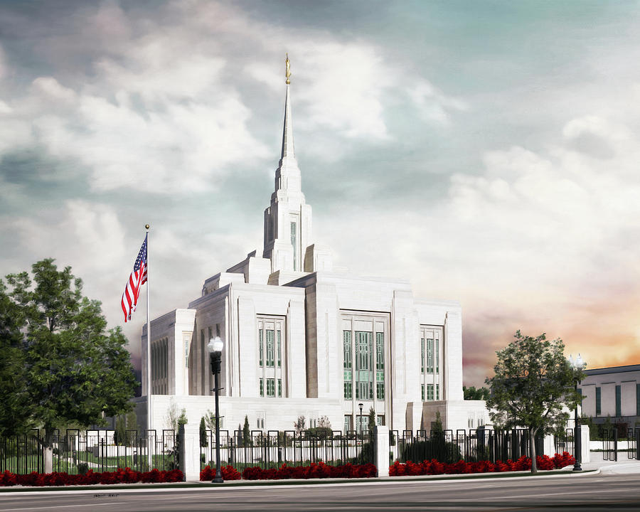 Ogden Painting - Ogden LDS Temple by Brent Borup