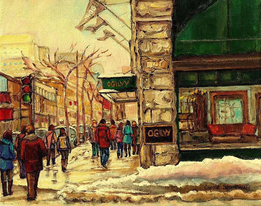 Montreal Painting - Ogilvys Department Store Downtown Montreal by Carole Spandau